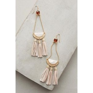 Anthropologie Blush Drop Tassel Earring